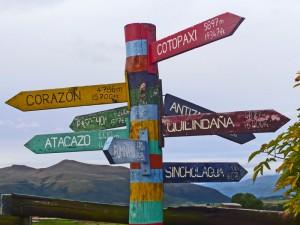 Wegweiser am Cotopaxi