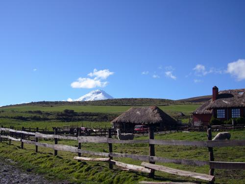 Blick auf die Hacienda am Cotopaxi mit dem Vulkan im Hintergrund