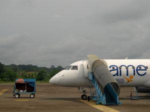 Flugzeug mit Gepäckwagen auf dem Rollfeld