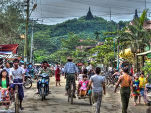 Myanmar Mrauk U - levendig dorpje