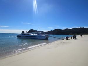 Boot am Strand einer der vielen Buchten im Abel Tasman Nationalpark