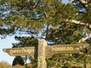 Hinweisschild in Hobbiton