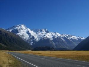 Neuseeland-mount-cook-strasse-sonne