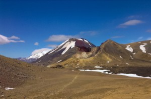 Blick auf den aktiven Vulkan im Tongariro Nationalpark