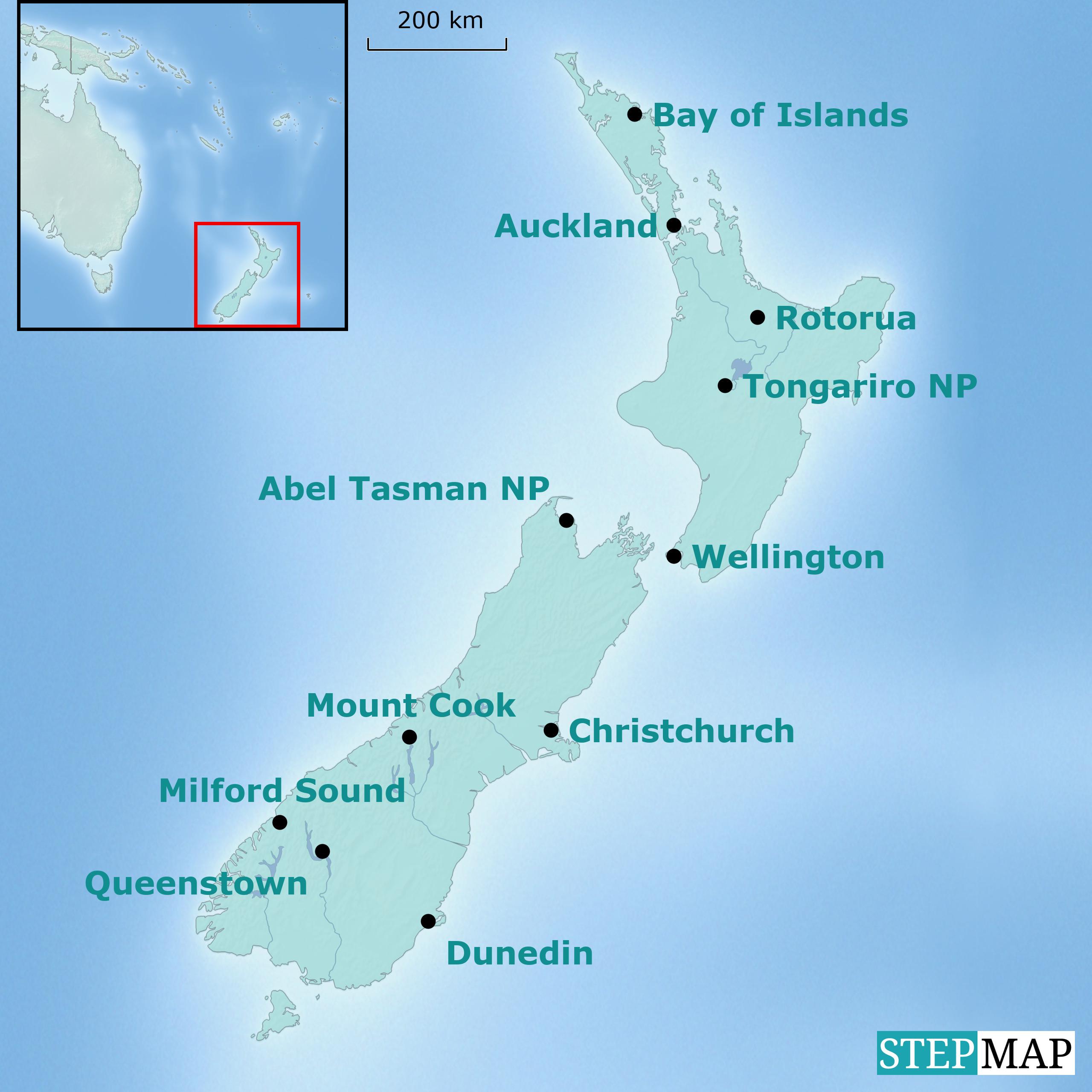 Neuseeland Karte