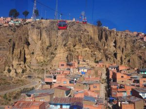 Blick aus Seilbahn auf La Paz