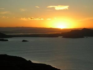 Sonnenuntergang Titicacasee Peru Bolivien Rundreise