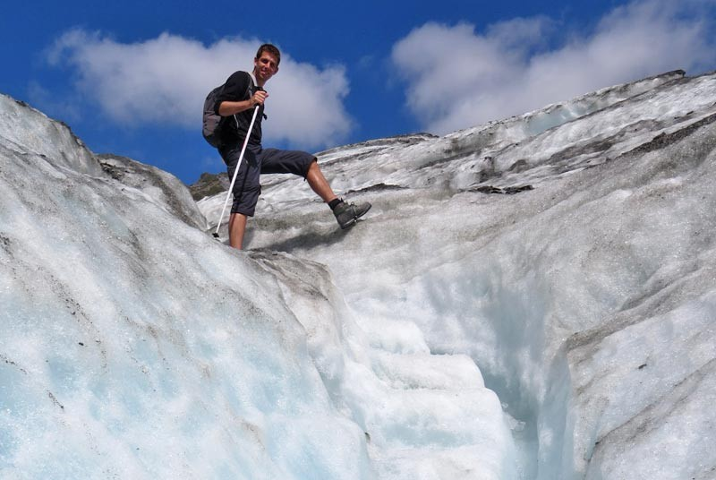 Wandeling over een gletsjer