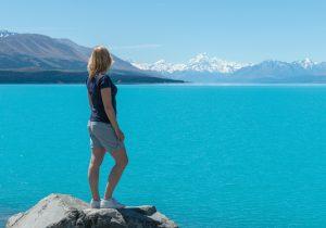 Lake Tekapo - Uitzicht blauw meer