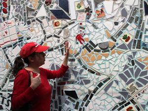 Mosaiksteine an den Wänden in Philadelphia