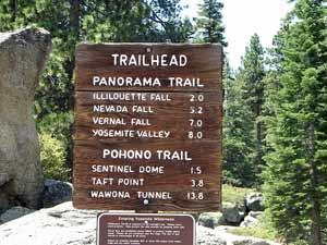Trailrouten - Schild im Yosemite Nationalpark