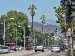 Blick auf die Hollywood Hills am Rande von Los Angeles