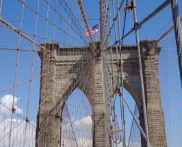Blick auf die Brooklybridge von Manhattan