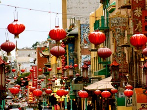 Rote Lampions in San Franciscos Chinatown