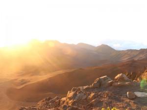 Sonnenaufgang am Gipfel des Haleakala