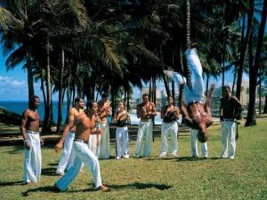 Capoeira Tänzer auf einer Wiese