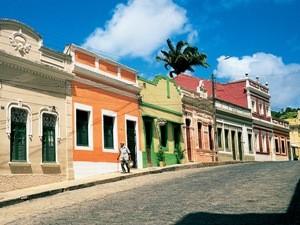 Bunte Häuser in Olinda im Nordosten Brasiliens