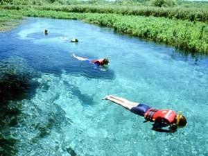 Schnorcheln im glasklaren Fluss