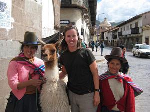 Cusco locals met lama