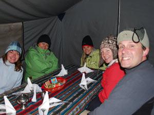 Eten in tent Inca Trail
