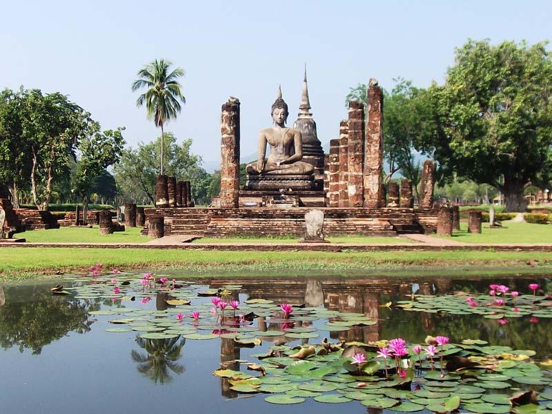 Thailand-Reisen-Tempelruine in Sukhothai