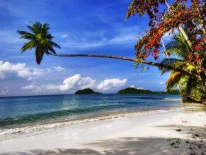 Einsamer Strand mit Palmen auf Koh Mak