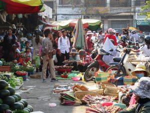 Thailand Kambodscha Rundreise-Markt in Battambang