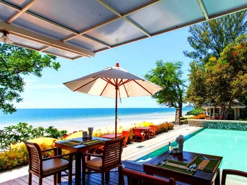 Blick vom Restaurant direkt aufs Meer
