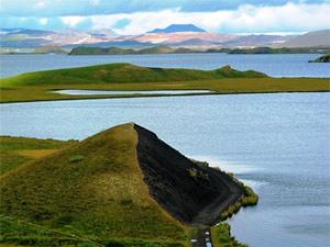Aussicht auf den Mývatn See in Island