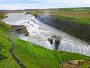 Gullfoss Wasserfall im Sommer