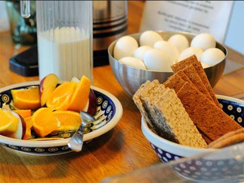 Blick auf das Frühstücksbuffet