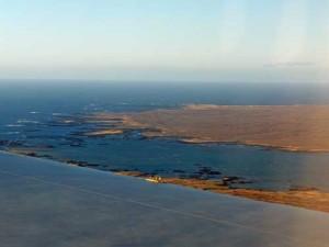 Blick aus dem Flugzeug auf Island Blaue Lagune