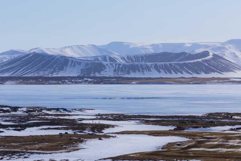 See in der Mývatn Region im Winter