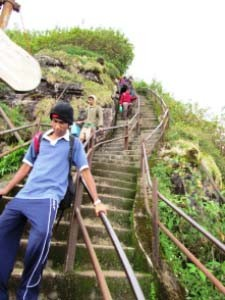 Die Stufen hinauf