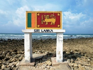 Ein Schild, das den nördlichsten Punkt Sri Lankas markiert