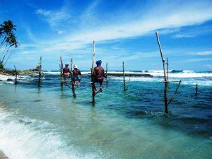 Stelzenfischer an der Südwestküste Sri Lankas