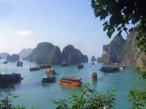 Panorama in der Halong Bucht in Vietnam