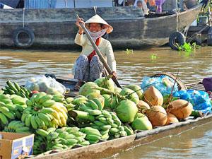 trubeliges Treiben auf dem Mekong