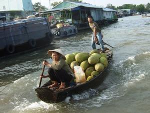 Von Vietnam nach Kambodscha: Verkauf von Gemüse