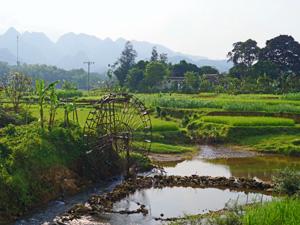 Pu Luong Wasserrad und Reisfelder