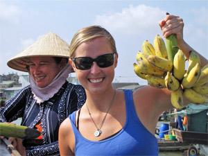 Bananen von einem schwimmenden Markt im Mekong Delta