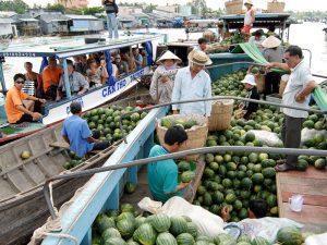 Wassermelonen Händler im Mekong Delta