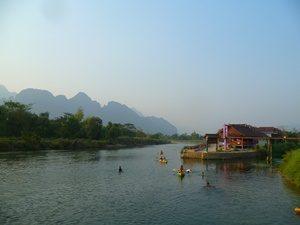 Tuben in Vang Vieng auf dem Nam Song