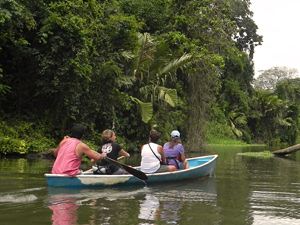 Mit dem Kanu in Tortuguero unterwegs