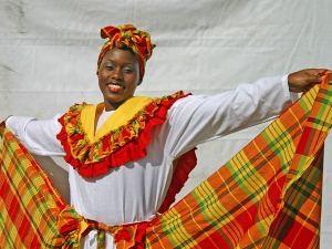 Typisch karibische Tracht auf Tobago