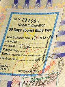 Visum en geld Nepal