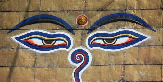 Gezicht op tempel - reis Nepal