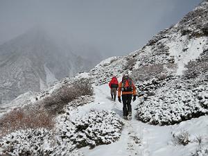 Annapurna basecamp trekking - sneeuw