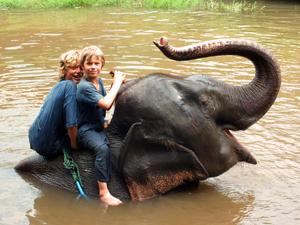 Olifanten Thailand met kinderen: mahout-training