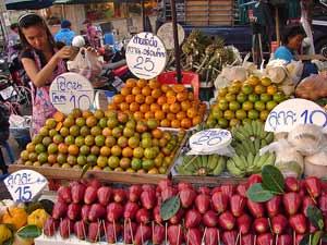 Thailand vakantie fruitmarkt